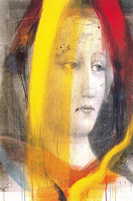 """Untitled from the """"Giotto et al"""" series by Austrian painter Arnulf Rainer (b.1929). via All Art"""