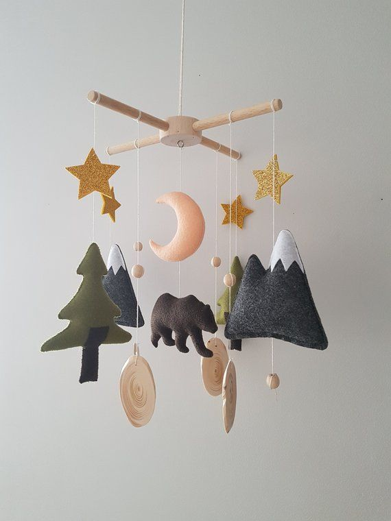 Woodland Crib Mobile Nursery, Bear Baby Mobile Felt,Woodland Boy Nursery, Woodla…