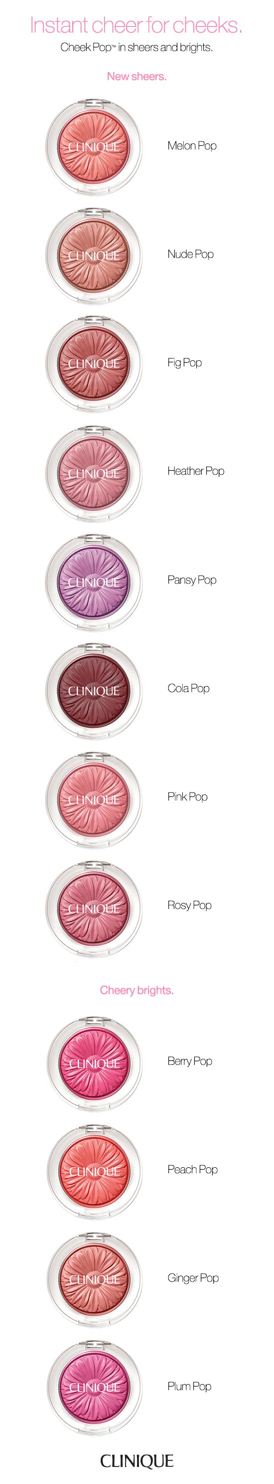 No matter what your shade preference or skin tone, there's a Clinique Cheek Pop shade for you. Vibrant yet natural-looking cheek colour looks virtually powderless. In a silky smooth, stay-true formula with shades for every skin tone. That just-pinched look, simply effortless.