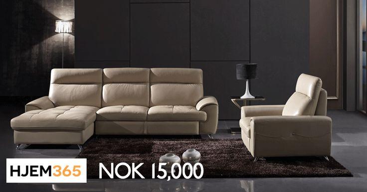Mustard sofa med sjeselong lar deg organisere plassen din som du vil. Sofaen passer godt selv der det er trangt. Sete og rygg er trukket i ekte lær. Bak og på sidene er PU.   #hjem365 #interiordesign #design  #furniture #sofa #armchair #diningtable #norway #diningroom #table #chairs #utforming #interiørdesign #møbler #sofa #lenestol #spisebord #Norge #spisestue #bord #stoler #storage #Oppbevaring #Spisebord #Spisestoler #Sofaer #Skinnsofaer #Stoffsofaer