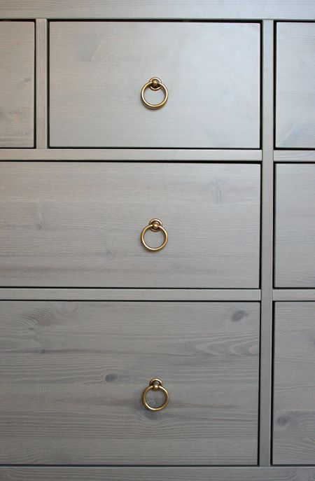 PULLS! ikea hack, hemnes dresser gray-brown with brass pulls - to go with the console and navy blue wall in the office