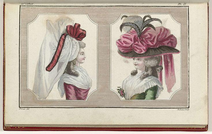 Cabinet des Modes ou les Modes Nouvelles, 1 Avril 1786, pl. II, A.B. Duhamel, Buisson, 1786