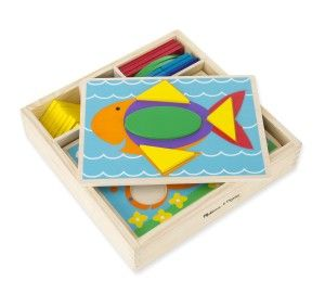 Melissa & Doug Toys: Beginner Pattern Blocks This is great for early development. I like how the solid wooden boards are double-sided and sturdy. These patterning blocks can also be used independantly of the boards.   http://awsomegadgetsandtoysforgirlsandboys.com/melissa-and-doug-toys/ Melissa & Doug Toys: Beginner Pattern Blocks