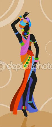 Mujer africana de danza étnica — Vector de stock #118631502