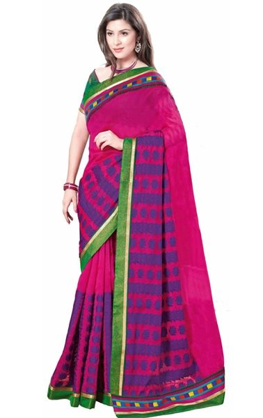 Picture of Charming Pink Color Indian Cotton Saree Online Shopping