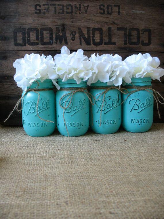 Mason Jars, Painted Mason Jars, Rustic Wedding Centerpieces, Party Decorations, Turquoise Wedding on Etsy, $32.00