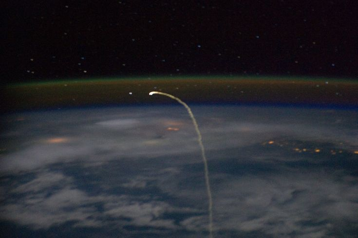 This streak is the last image ever of the space shuttle's reentry into earth's atmosphere from orbit.