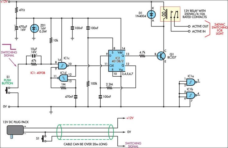 low voltage remote mains switch circuit diagram ece. Black Bedroom Furniture Sets. Home Design Ideas