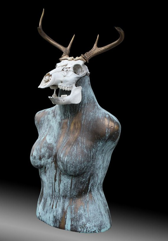 Yes Deer Is A Ceramic Sculpture With Deer Skull And