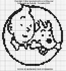 grille point de croix tintin et milou