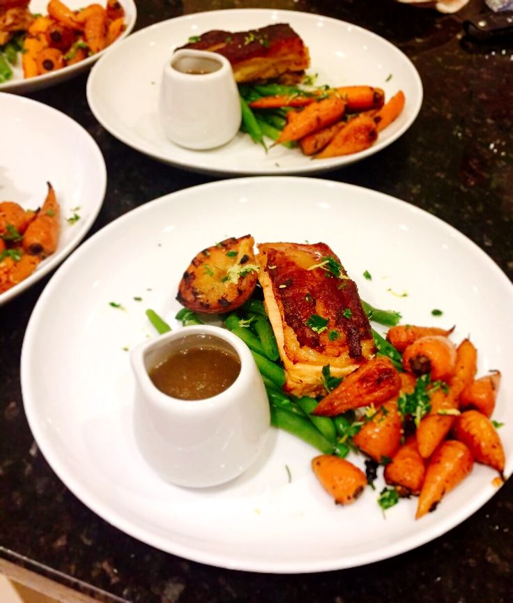 Cider braised pork belly with green beans, thyme roasted carrots, salt and pepper griddled peach, gremolata and cider sauce. #pork #porkbelly #greenbeans #thymeroastedcarrots #roastedcarrots #carrots #chantannaycarrot #cidersauce #cider #gremolata #peach #griddledpeaches #roastedpeach #saltandpepperpeach #personalchef #personalcook #personalchefs #personaldining #caterer #catering #privatecook #privatechef #privatedining #somerset #devoncook #devonchefs www.stevejamesltd.com