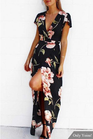 Low Cut V neckline Random Floral Print Wrap Maxi Dress