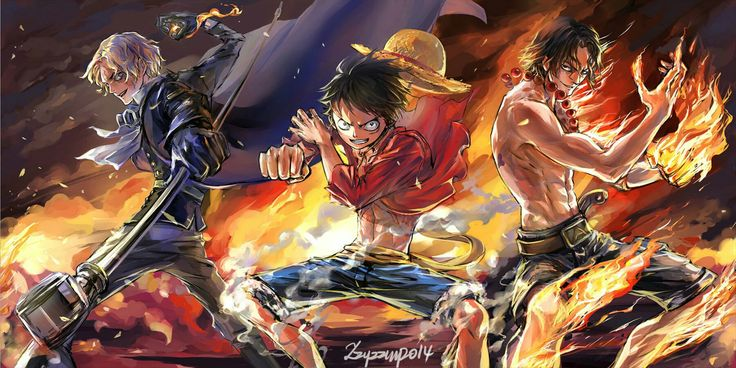 Sabo, Luffy, Ace, brothers, fire, cool; One Piece