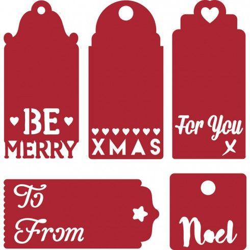 Troquel Navidad Etiquetas Sentimientos First Edition para Sizzix