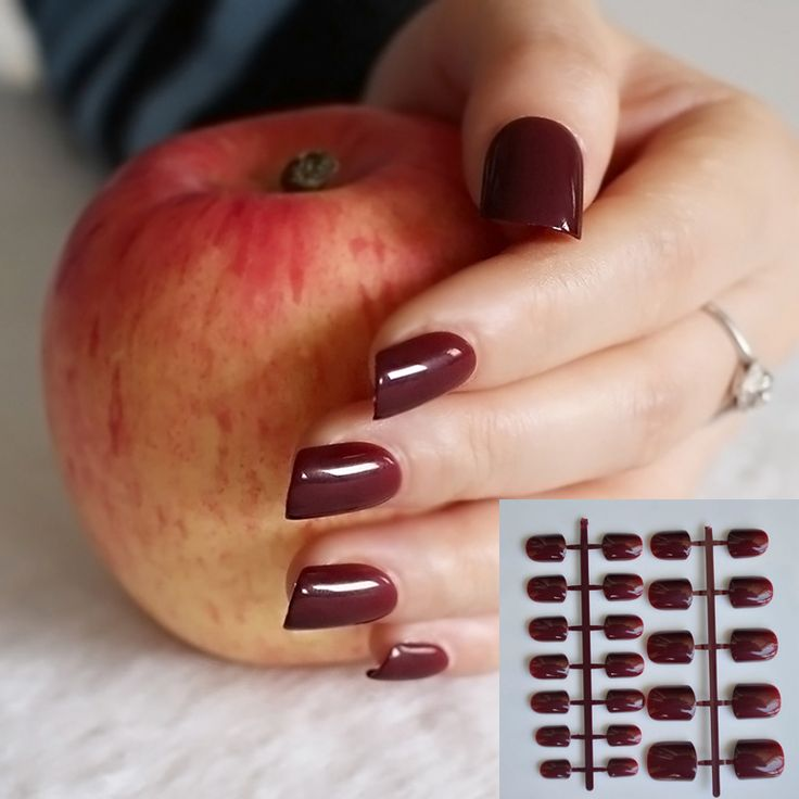 Fashion Middle Flat Top False Nail Tips for Finger Nails Candy Maroon Red Acrylic Nail DIY Decoration Full Wrap Tips P83