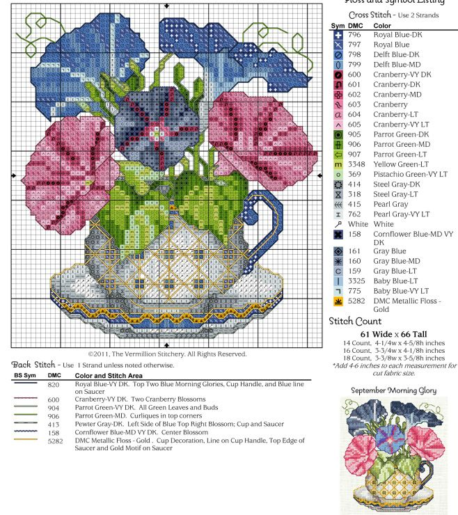 #9 September Teacup, Morning Glory Free Cross Stitch Pattern