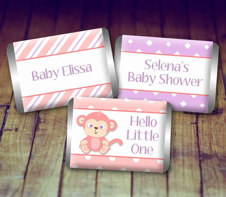 Mini Candy Wrapper - Baby Shower Girl, Baby Shower Favor, Pink and Purple Baby Shower, Personalized Baby, Printable Baby, Baby Monkey by LittlePrintsOttawa on Etsy