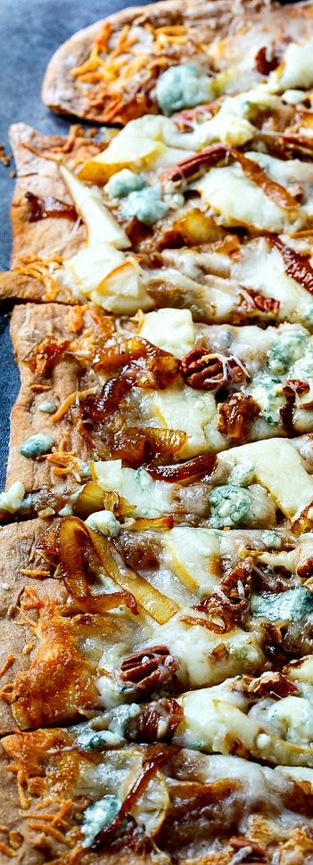 Caramelized Onion Flatbread with pears, blue cheese, and pecans.