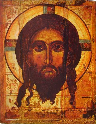 """7.  The Mandylion of Edessa.  Thus we can trace the development of the legend from a letter, but no image in Eusebius, to an image painted by a court painter in Addai, which becomes a miracle caused by a miraculously-created image supernaturally made when Jesus pressed a cloth to his wet face in Evagrius.  It was this last and latest stage of the legend that became accepted in Eastern Orthodoxy, the image of Edessa that was """"created by God, and not produced by the hands of man""""."""