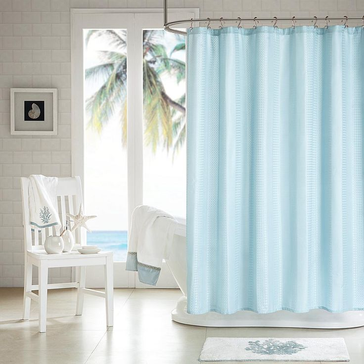 Concierge Collection Waffle Weave Shower Curtain with 3M Scotchgard Finish - Blue