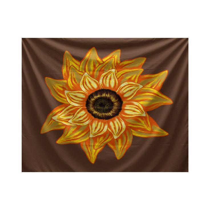 E by Design El Girasol Feliz Floral Print Tapestry (Brown) (Polyester)