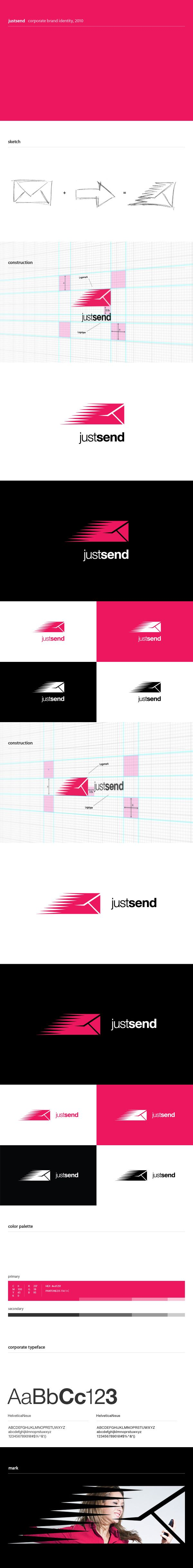Logo design process for JustSend