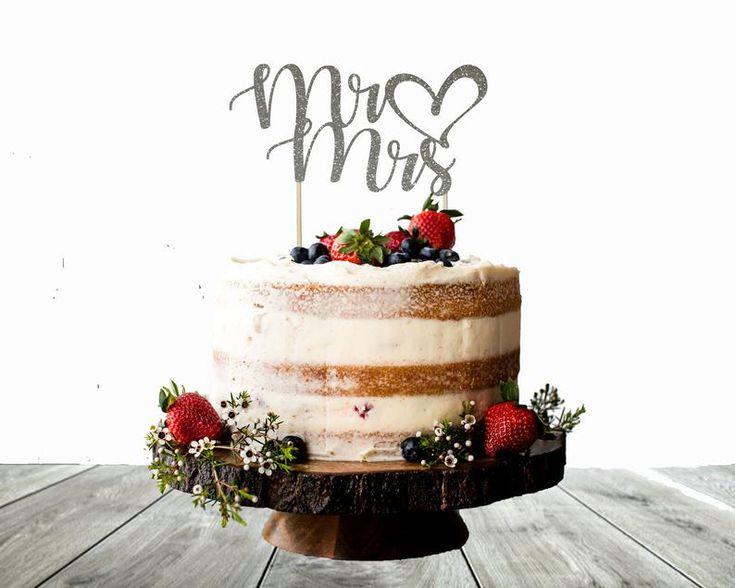 Mr Mrs Wedding cake topper Boy or girl cake topper Glitter | Etsy