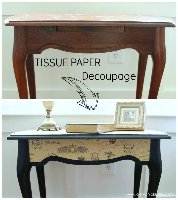 $5 Thrifty French TISSUE Paper Decoupage Table Makeover - Before-and-After - artsychicksrule.com - #decoupage #french