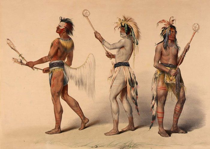 When bands or tribes got together, they held contests. They had footraces, archery contests, wrestling matches, and horse races. They also played stickball (above). It was a game similar to what we now call lacrosse. Boys played hoop and pole games. These helped them become hunters and warriors.| In a Plains Village | Kids Discover