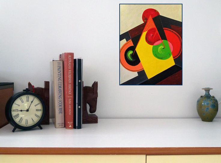 Instant Download, Printable Art, modern and bold, Original art, Abstract, Apples on coffee table, red, green, black and yellow, contemporary by ArtiSueBee on Etsy