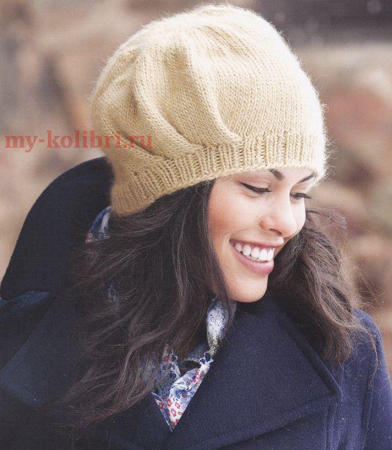 Вяжем шапку спицами платочной вязкой