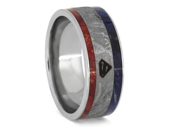 Superhero Ring, Titanium Superman Wedding Band With Box Elder Burl And Meteorite, Red, White And Blue Patriotic Band