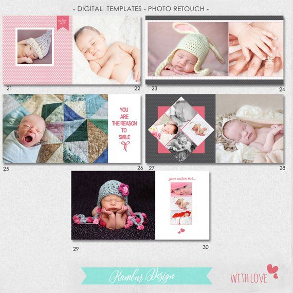 Mini Pack 10. Mixed designs 10 PSD Birth Announcement Templates INSTANT DOWNLOAD