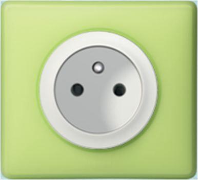 Prise électrique double  Céliane Legrand couleur vert anis