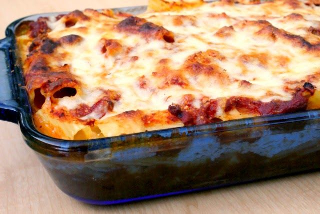 Cheesy Baked Rigatoni. I'm sneaking some chopped spinach into the sauce.