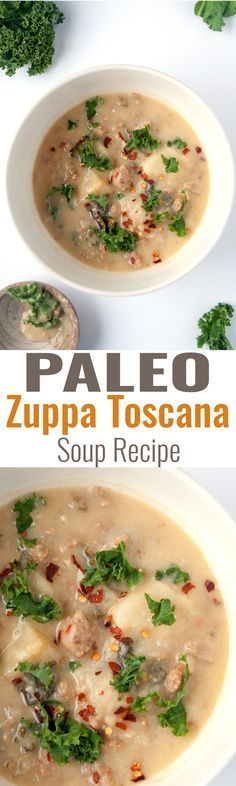 Paleo Zuppa Toscana Soup - an easy and simple paleo twist on a classic soup recipe. It's so creamy and delicious! Perfect for chilly winter nights.   http://thebewitchinkitchen.com