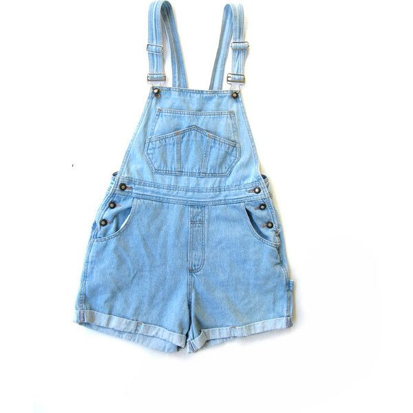 Vintage Women's Denim Blue Overalls with Short Shorts, small medium ($17) ❤ liked on Polyvore