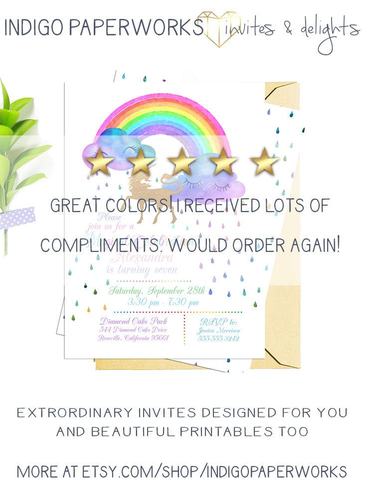 Rainbow Unicorn Invitation Watercolor Birthday Party Invite Baby