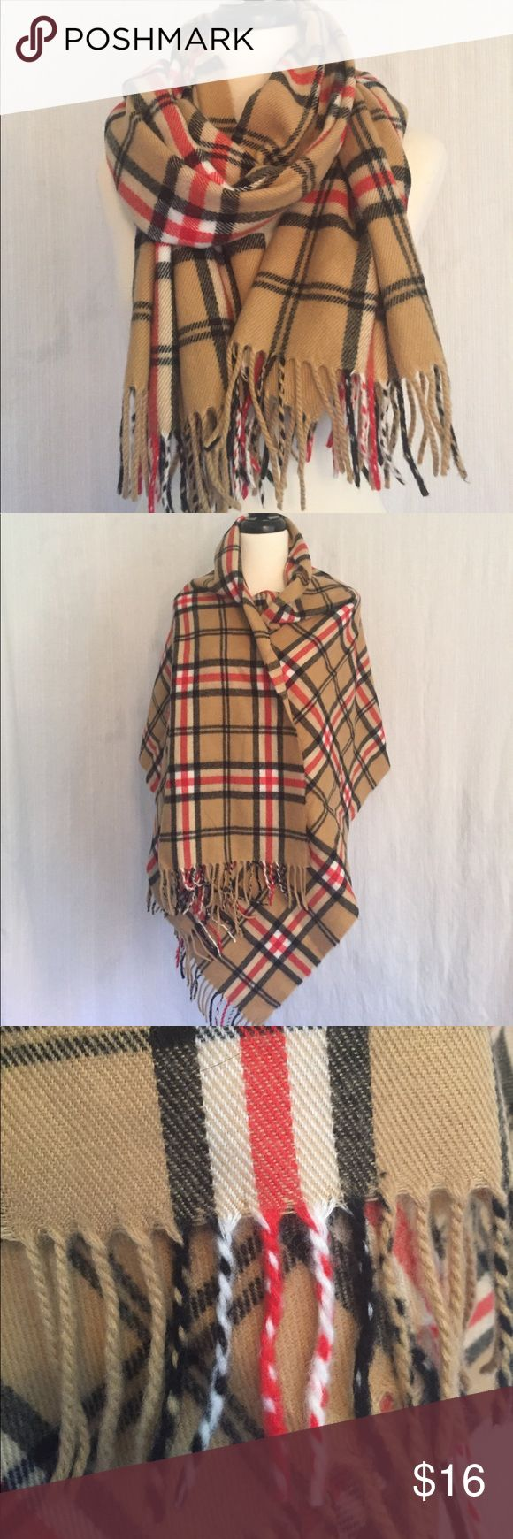 "Classic plaid blanket scarf 23.5"" X 68"" Classic plaid blanket scarf. Camel, red, white and black. 23.5"" X 68"". Comes without brand or care tags. I think it is synthetic-possibly acrylic. Very pretty and in excellent condition. Accessories Scarves & Wraps"