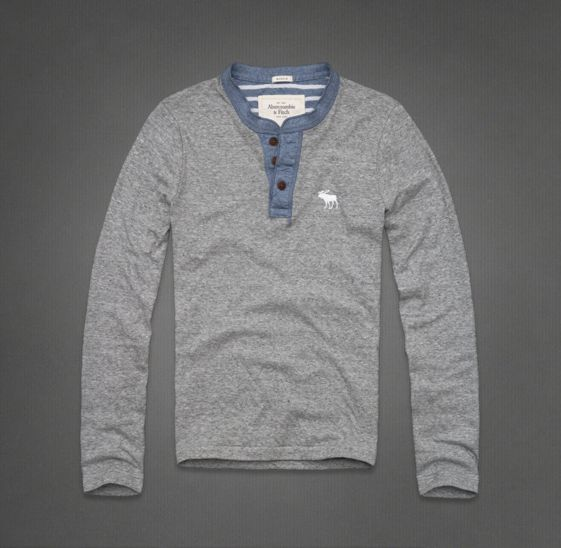 Abercombie & Fitch Raquette River Henley - Heather grey and blue