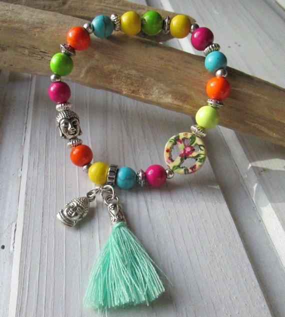 Kleurrijke armband stijl met Boeddha vrede kwast houten