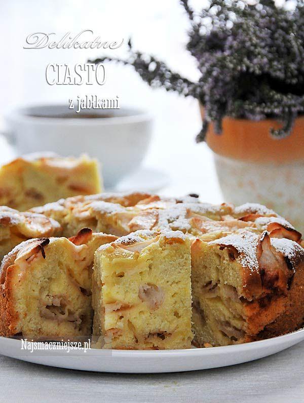 Delikatne ciasto z jabłkami, ciasto z jabłkami, jabłka, szarlotka, jabłecznik, http://najsmaczniejsze.pl #food #ciasto #cake #jabłecznik #jabłka