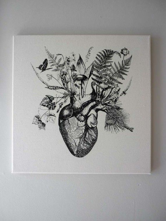 Growing Human Heart silk screened natural canvas wall hanging 16×16 black