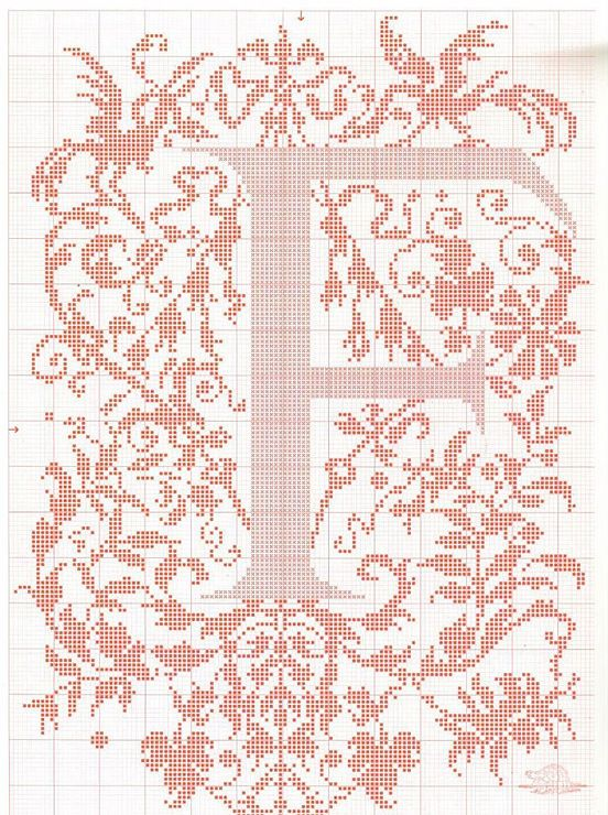 "cross stitch alphabet in 2 colors- very ornate monogram 26 single letters -- ""F'"" #6"