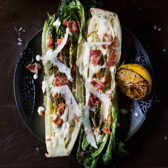 Grilled Romaine Lettuce with Creamy Lemon Dressing -