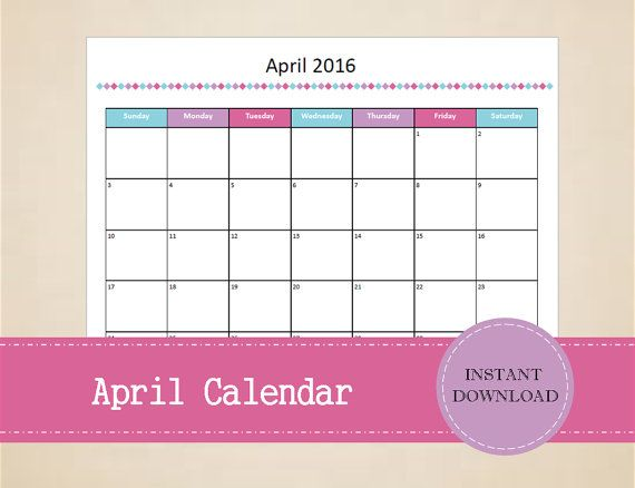 Printable April 2016 Calendar  Seasonal by MBucherConsulting