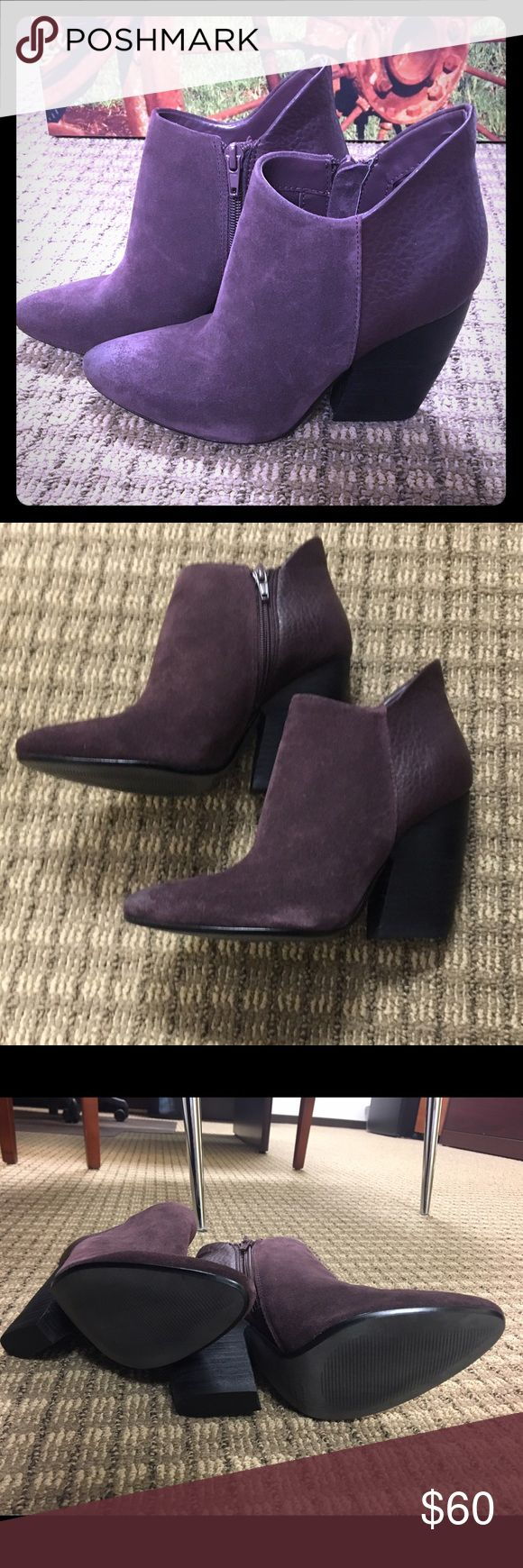 BRAND-NEW! ⭐️Crown Vintage Ankle Boots. SZ 6 🌟Brand-new, never worn!! 🌟Crown Vintage Suede ankle boots in PLUM. Size 6 with side zipper & 3 1/2 inch heel. Very cool edgy boots. Great color, that acts as a neutral. Crown Vintage.  Shoes Ankle Boots & Booties