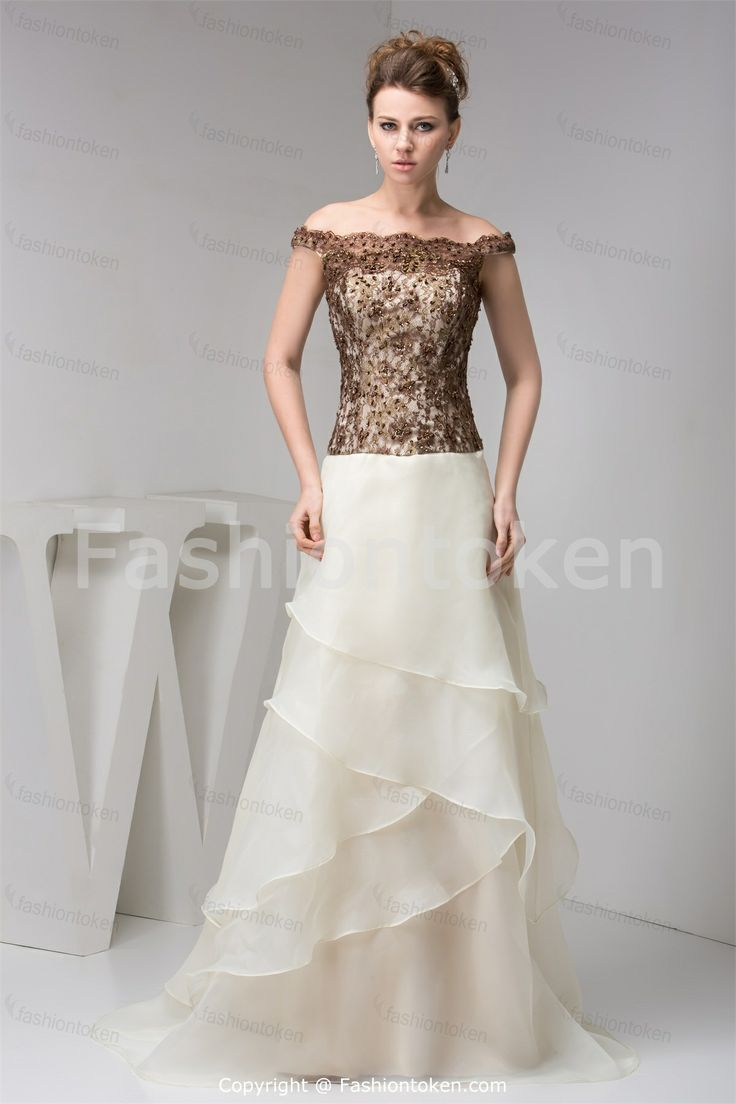 Off The Shoulder Brush Sweep Train Organza Lace Dress