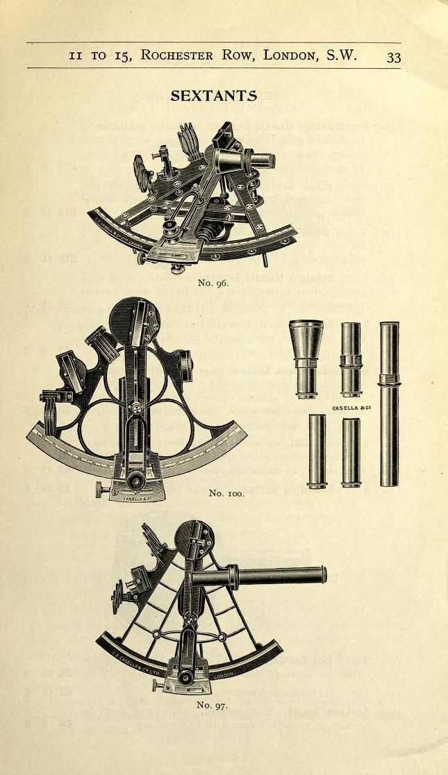 Surveying and Drawing Instruments - sextants ca. 1911