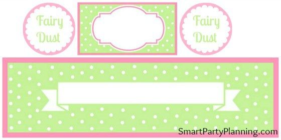 Pink & Green Polka Dot Fairy Party Printables